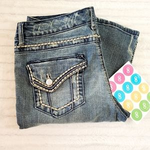 Seven7 jeans•slight distress•tan threading• sz.8